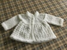 Hand Knitted Traditional Baby Matinee Jacket Approx 0-3 Months