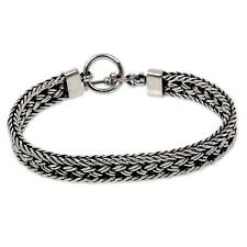 Sterling Silver Bracelet Men's Toggle Clasp Braided Balinese Combo Finish NOVICA