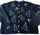 Vtg Karen Scott Sport Womens Ugly Xmas Sweater Cardigan Wool Tree Wreath PXL
