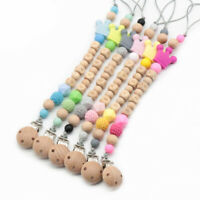 Baby Wooden Pacifier Clips Personalized Silicone Beads Dummy Nipple Holder Chain