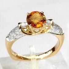 NEU natürlicher Citrin Quarz Diamant Ring 1.53 ct 585er Gelbgold 14K Farbe Gelb