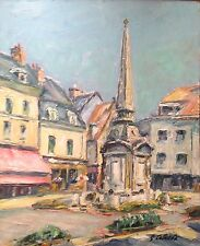 GASTON LABORDE TABLEAU HSP FONTAINE VILLAGE NORMAND PEINTURE 30/40