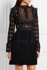 NWT Self-Portrait Adeline Organza-Trimmed Guipure Lace Crepe Dress UK 6 US 2