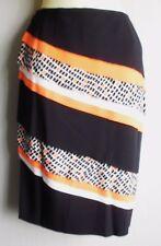 Black with Neon Orange Diagonal Layered Pencil Skirt Size 12 NEW