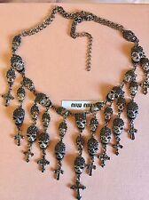 $750 Silver Skeleton Skull Head Pendant Crystal Bib Necklace Jewelry swarovski