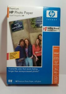 HP Premium 4 X 6 Photo Paper Soft Gloss 100 sheets Preforated Tab Inkjet NOS