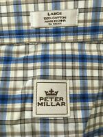 Peter Millar Mens Size L Long Sleeve Plaids Checks Button Down Dress Shirt EUC