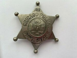 1920'S CHICAGO POLICE SUPT. STAFF  6 Point Ball BADGE