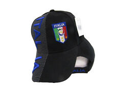 Italy Italian Italia Country Letters Blue & Black Hat Cap 3D Embroidered (RUF)