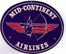 """1950's Mid Continent Airlines Indian  Baggage Sticker Unused 4"""" X 3 1/4"""""""
