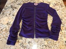 Juicy Couture Woman's Zip Up Sweater / Shirt Size P Purple Wool/Cashmere