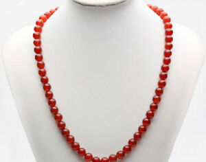 """8mm natural Red agate Round Beads Gemstone Necklaces 18"""""""