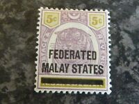 FEDERATED MALAY STATES POSTAGE REVENUE STAMP SG4 5C PURPLE & YELLOW MOUNTED MINT