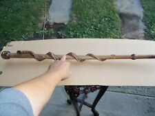 Vintage Handmade Wooden Snake Carved Cane Walking Stick Brown Craft Decor Look!