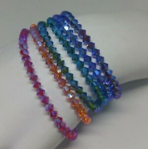 Handmade w/ Swarovski Crystal AB2X Bicone Beaded Bracelets; Choose Color