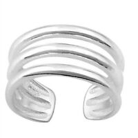 Toe Ring Genuine Sterling Silver 925 Jewelry Adjustable Gift Face Height 8 mm