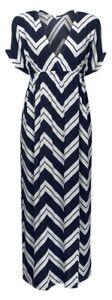 Ladies Navy Chevron Stripe Short Batwing Sleeve Maxi Dress Size UK6/8/10/12