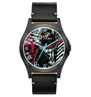 Womens MARC JACOBS Leather Watch Black Cat Henry 40mm Pink Blue