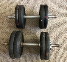 Adjustable Dumbbells York Real McCoy Barbell Weight Plates 8x10 80 LB Total