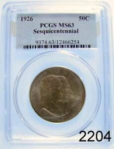 1926 SESQUICENTENN HALF DOLLAR COMMEM CERTIFIED PCGS MS 63 PALE GOLD #2204