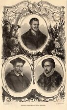 RABELAIS JACQUES AMYOT MICHEL MONTAIGNE GRAVURE 1878 ENGRAVING