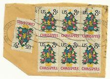 Used #1508 8¢ US Postage Needle Point Christmas Tree (Block of 6 + 1)