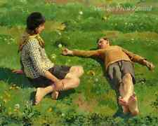 Cornish Children by Harold Harvey -  Boy Girl Field Flowers 8x10 Print 1236