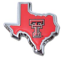 Texas Tech Red Raiders Chrome Metal Auto Emblem (Tx Shape w/color) Ncaa Licensed