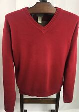 LL BEAN MENS SIZE XL RED 100% COTTON HEAVY KNIT V-NECK PULLOVER SWEATER