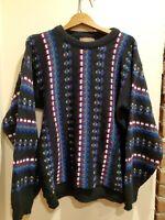Men's Vintage ATLAS Coogi style Multi Color Biggie 1990's sweater size L~EUC!