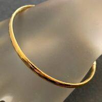 VINTAGE BANGLE BRACELET ETCHED GOLD TONE METAL COSTUME JEWELRY