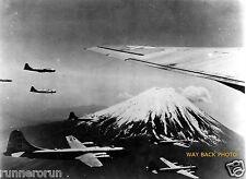 "B-29's FLYING PAST MOUNT FUJI JAPAN - REPRINT PHOTO - 8"" by 10"""
