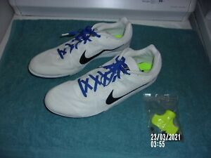 NIKE RIVAL D TRACK DISTANCE SPIKES SHOES 2-TONE WHITE NEW SIZE 14 MEN'S