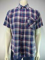80's Vintage LEVI'S Blue Plaid L Large Shirt Button Down Flap Pockets Western