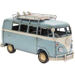 Tin Vintage Transporter Blue Model VW Volkswagen Camper Kombi Van Surfboards