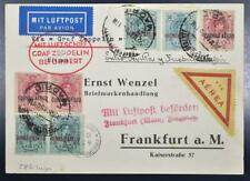 SPAIN to GERMANY 1930, $$$, ZEPPELIN, RARE Spanienflug/Spain Flight Card to FFH