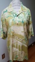 Tommy Bahama Silk Shirt XL Green Button Down Short Sleeve king of the blues
