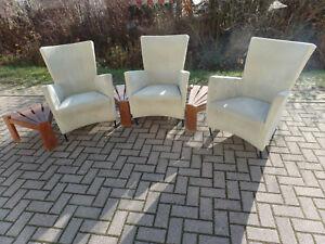 3 Sessel / Stühle + 3 Holz Beistelltische MONTIS Design Holland #4095