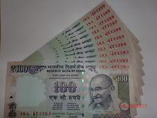 INDIA PAPER MONEY - 10 X RS.100/- OLD 'MG' NOTES - RAGURAM.G.RAJAN -2014 - G-105