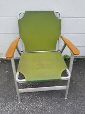 Vintage Wooden Green Canvas Folding Lawn Chair Lake Chair