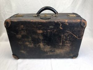 1921 Antique PEERLESS LUGGAGE Leather Suitcase w/ Solid Brass Hardware