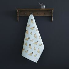 Sweet William Organic Cotton Cute PUG Tea Towel | Gift for Dog Lovers | FREE P&P