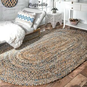Rug Jute & Cotton Rug 100% Natural Oval Hand Braided style Bohemian Decor rugs
