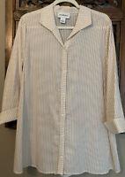 PECK & PECK Womens 100% Cotton Beige Striped Tunic Size Medium New W/O Tags