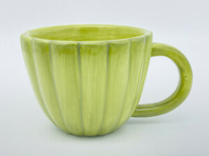 Anthropologie Green Coffee Mug Ribbed Cactus