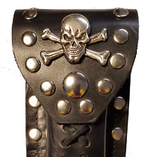 Buck 110 Leather Knife Case -  Skull and Bones