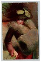 Vintage 1908 Fine Art Postcard Woman in Fine Hat Fur Hand Covers Beautiful