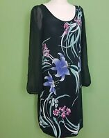 George Party Dress UK 16 Stretch Black Sheer Long Sleeve Floral Knee Length