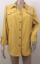 JM Collection Women's Collared Snap Down Shirt Size 16 Petite Mustard Yellow