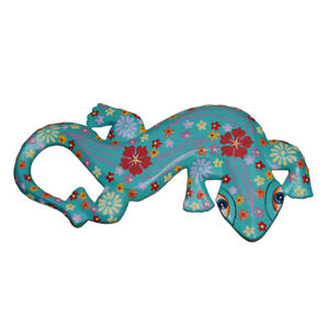 Fair Trade Wooden Gecko Wall Plaque Hand Carved & Painted Teal